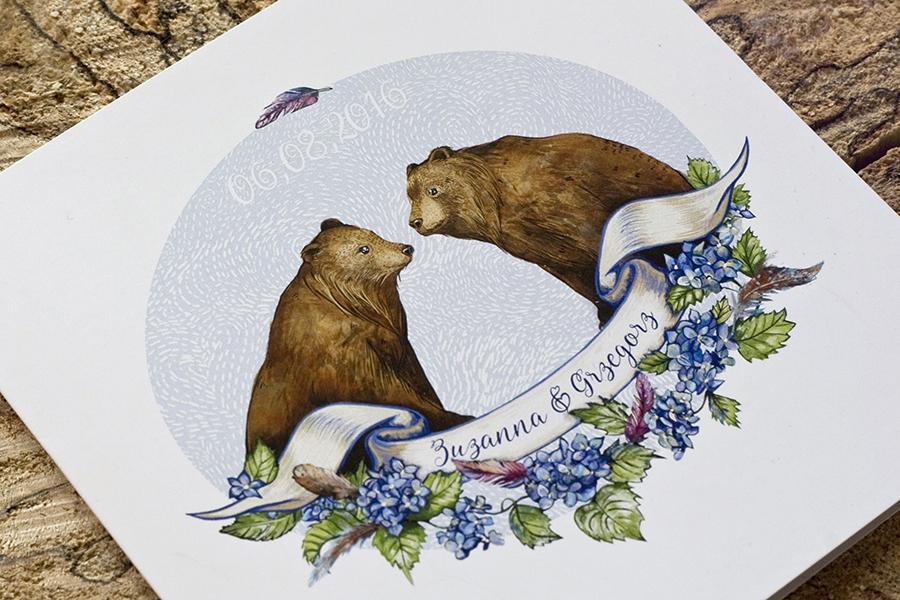 niedźwiadki na okładce zaproszenia