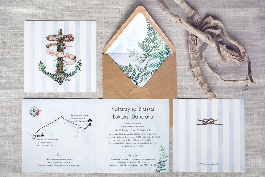 zestaw zaproszenia ślubnego z leśną kotwicą