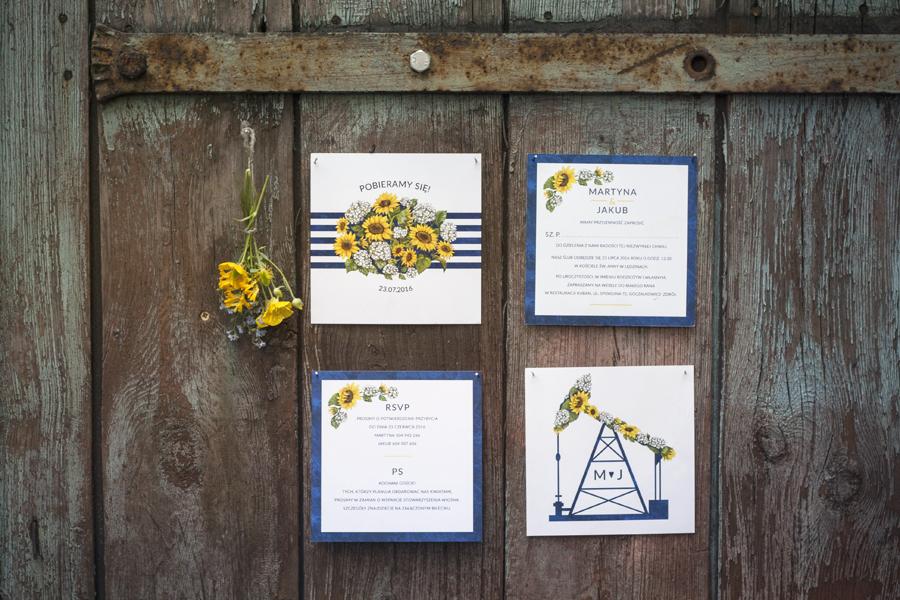 Zaproszenie śląskie z kwiatami słonecznika i hortensji