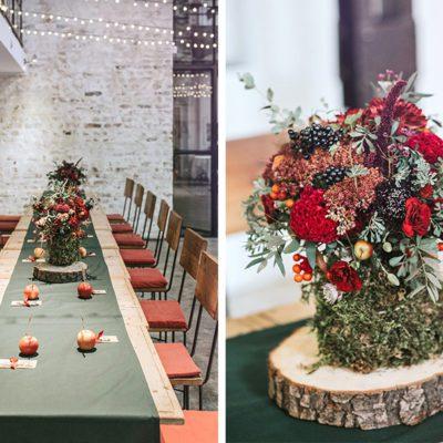 podłużne stoły gości z dekoracją