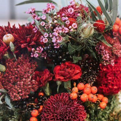 jesienne kwiaty w bordowych kolorach