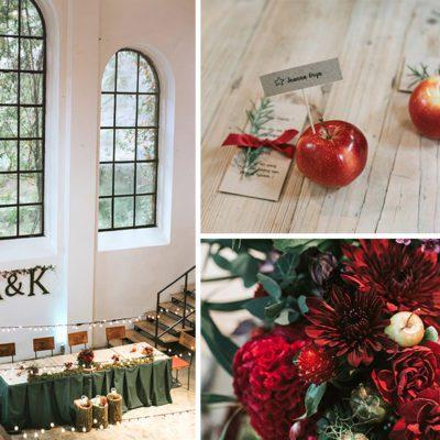 detale z jesiennymi jabłkami jako dekoracje