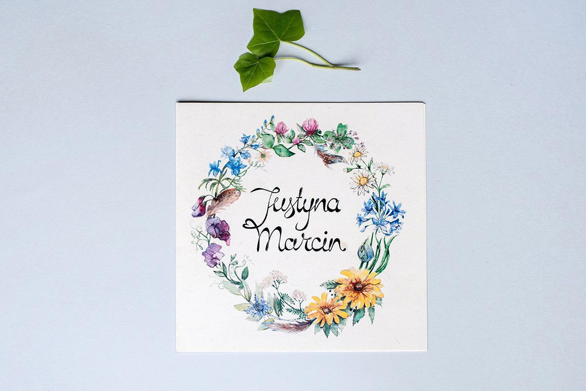 okładka rustykalnego zaproszenia z polnymi kwiatami