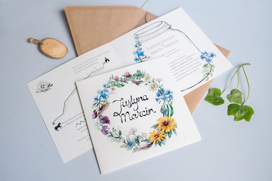 Zaproszenia z polnymi kwiatami