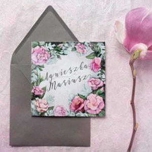 Zaproszenie ślubne z eustomami. Różowe kwiaty z szarością!