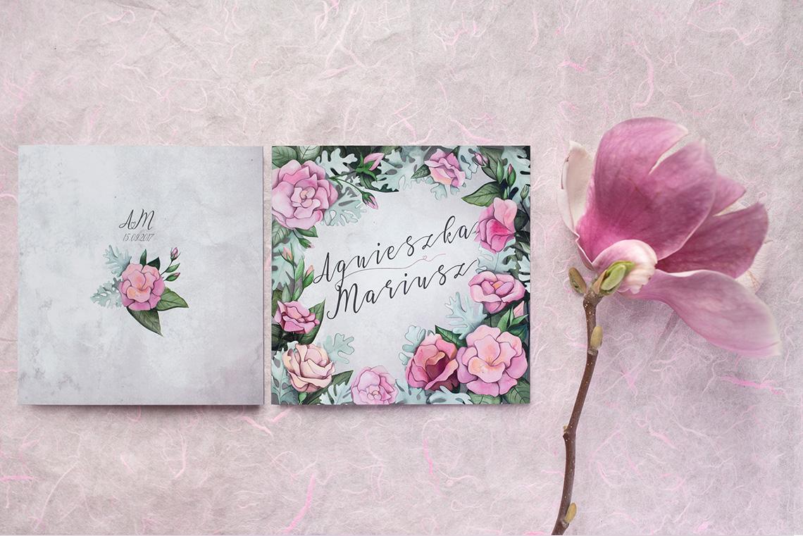 zaproszenie ślubne z różowymi eustomami
