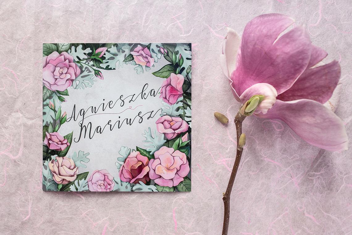 zaproszenie ślubne z eustomami