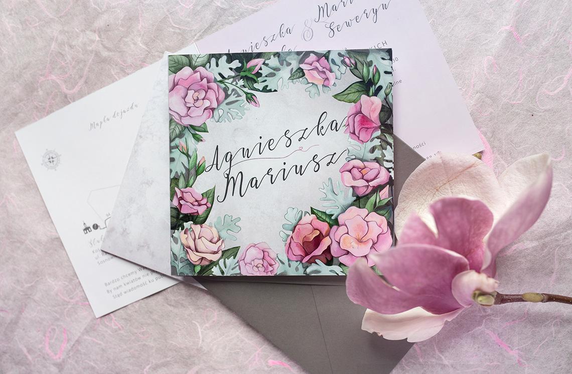 zaproszenie ślubne z eustomami i szarością