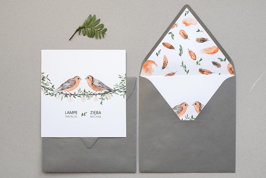 zaproszenie .ślubne wraz z kopertą z wyklejką
