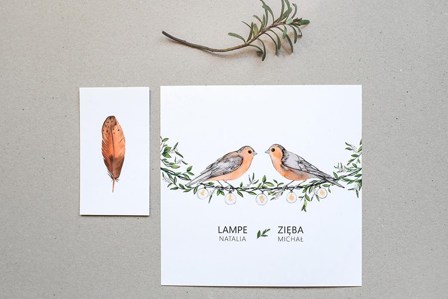 rysunek zięb na zaproszeniu ślubnym
