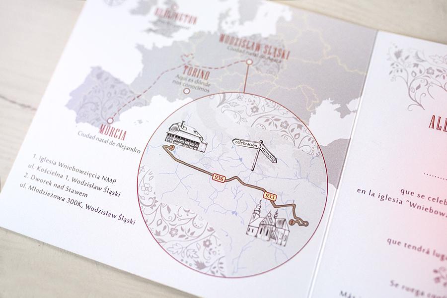 mapka dojazdu w zaproszeniu hiszpańskim