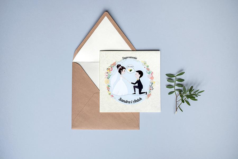 zaproszenie ślubne i koperta z wyklejką