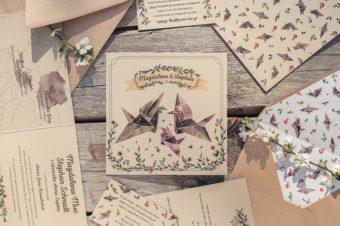 Zaproszenie ślubne z żurawiami origami, czyli projekt indywidualny na papierze ekologicznym!