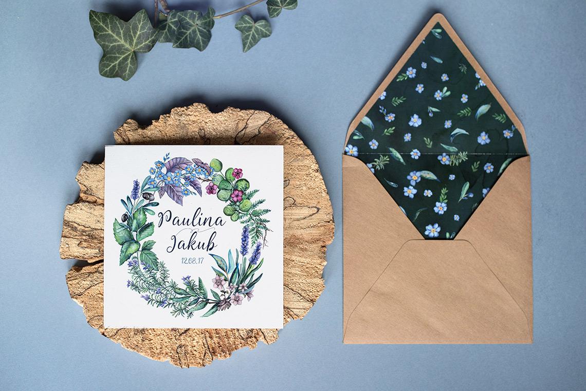 zaproszenie z ziołami i koperta z wyklejką