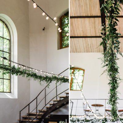zielone girlandy dekorujące wesele