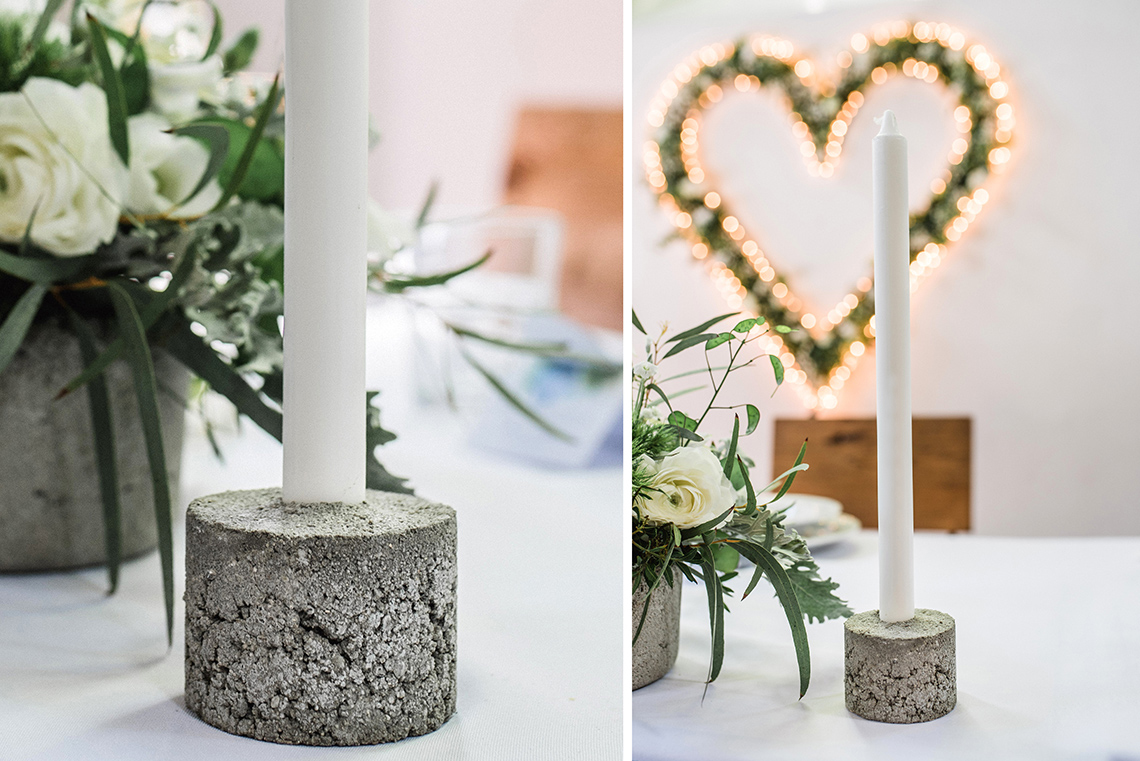 nowe świeczniki na industrialnym weselu