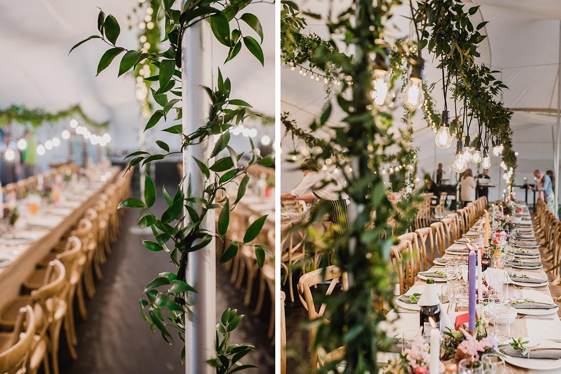 zielone łańcuchy oplatające kolumny w namiocie