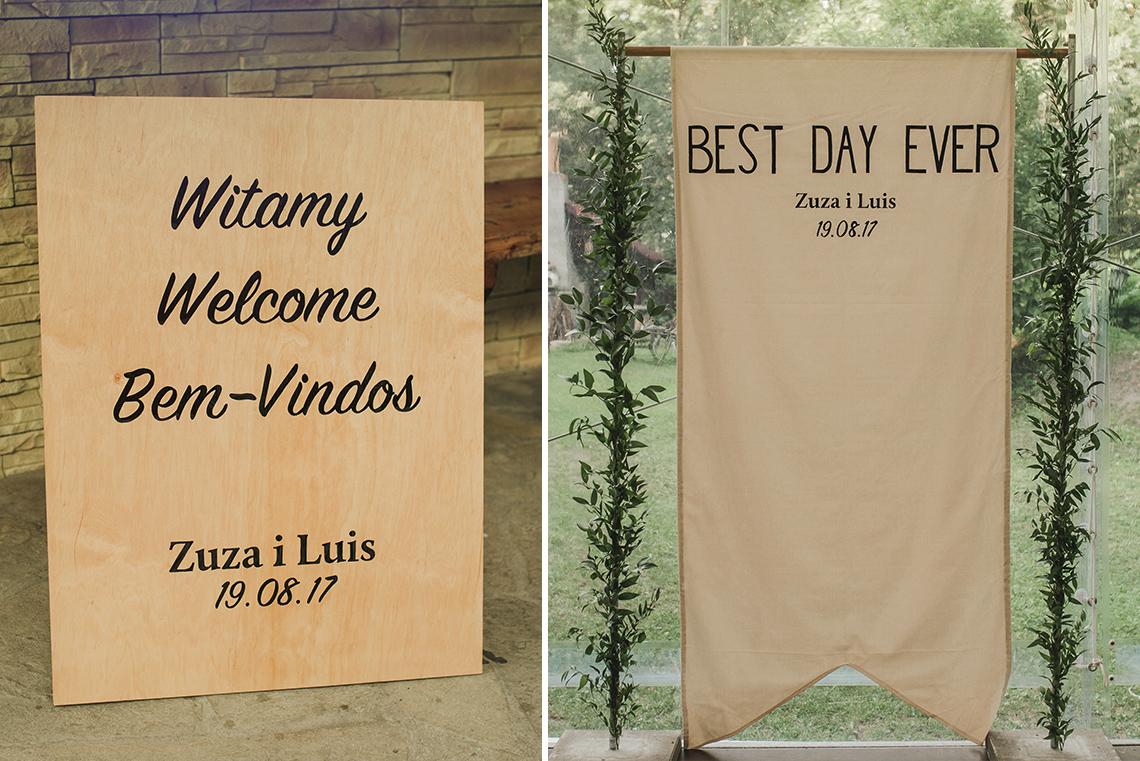 tablica powitalna i fotościanka na wesele