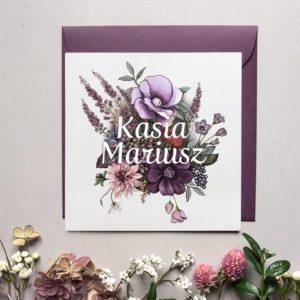Jesienne zaproszenia ślubne z kwiatami