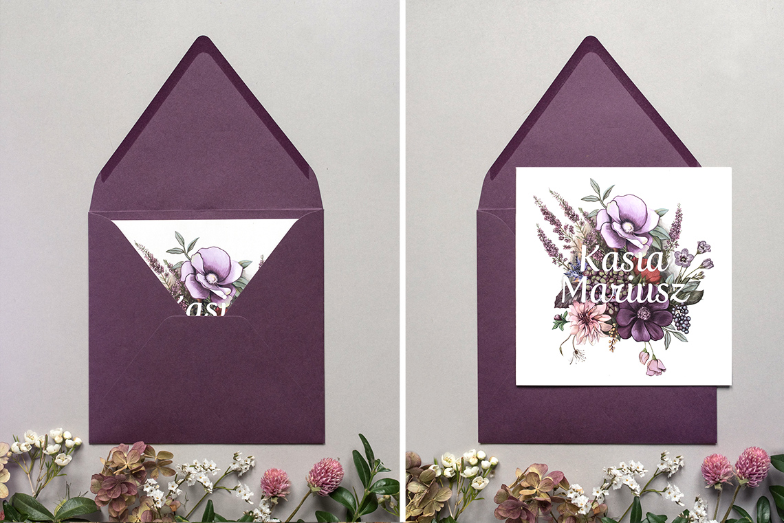 zaproszenie z fioletową kopertą