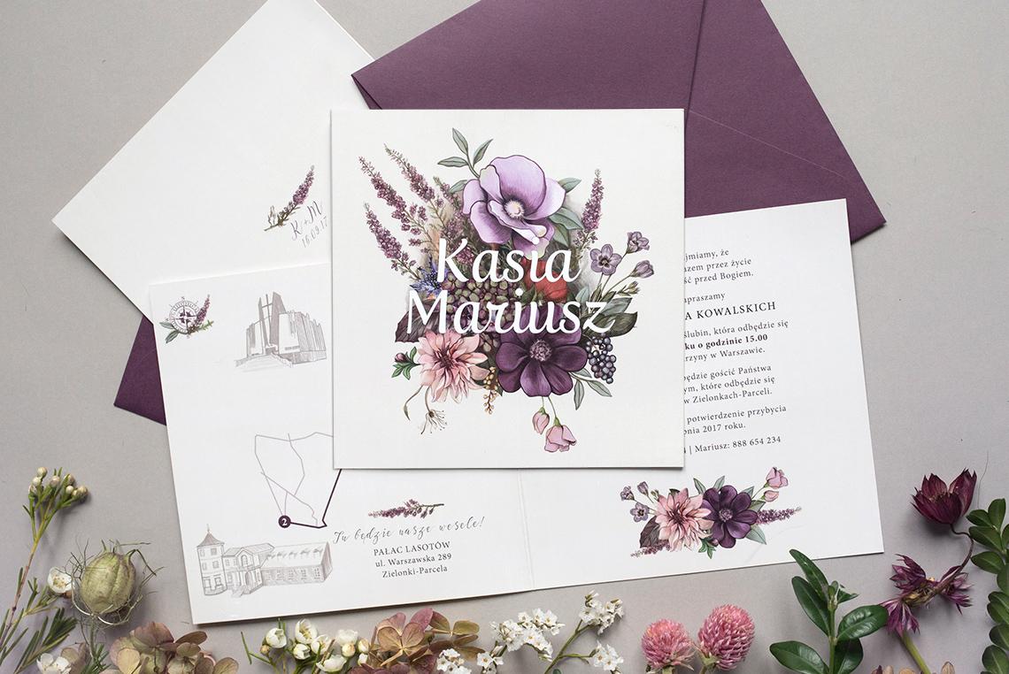 zaproszenia ślubne z jesiennymi kwiatami