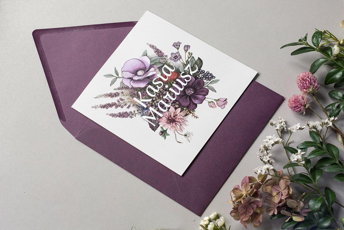 zaproszenie ślubne z kwiatami