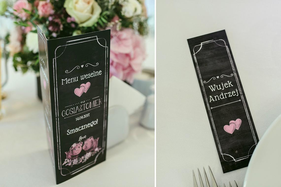 menu i winietka z motywem tablicy