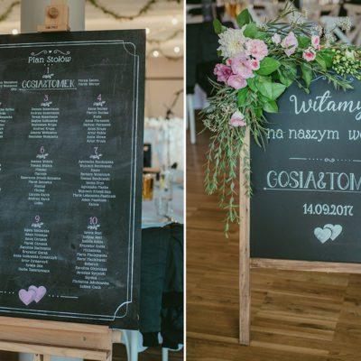 plan stołów i tablica powitalna