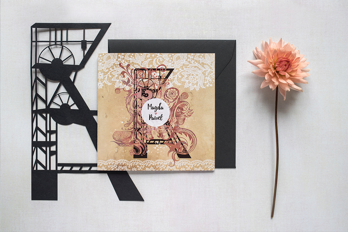 Śląskie zaproszenie ślubne - wersja z koronką