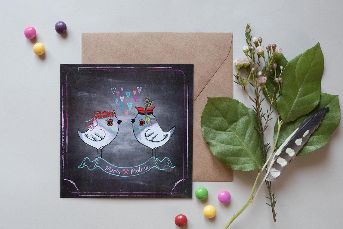śląskie zaproszenia ślubne z motywem kredowym