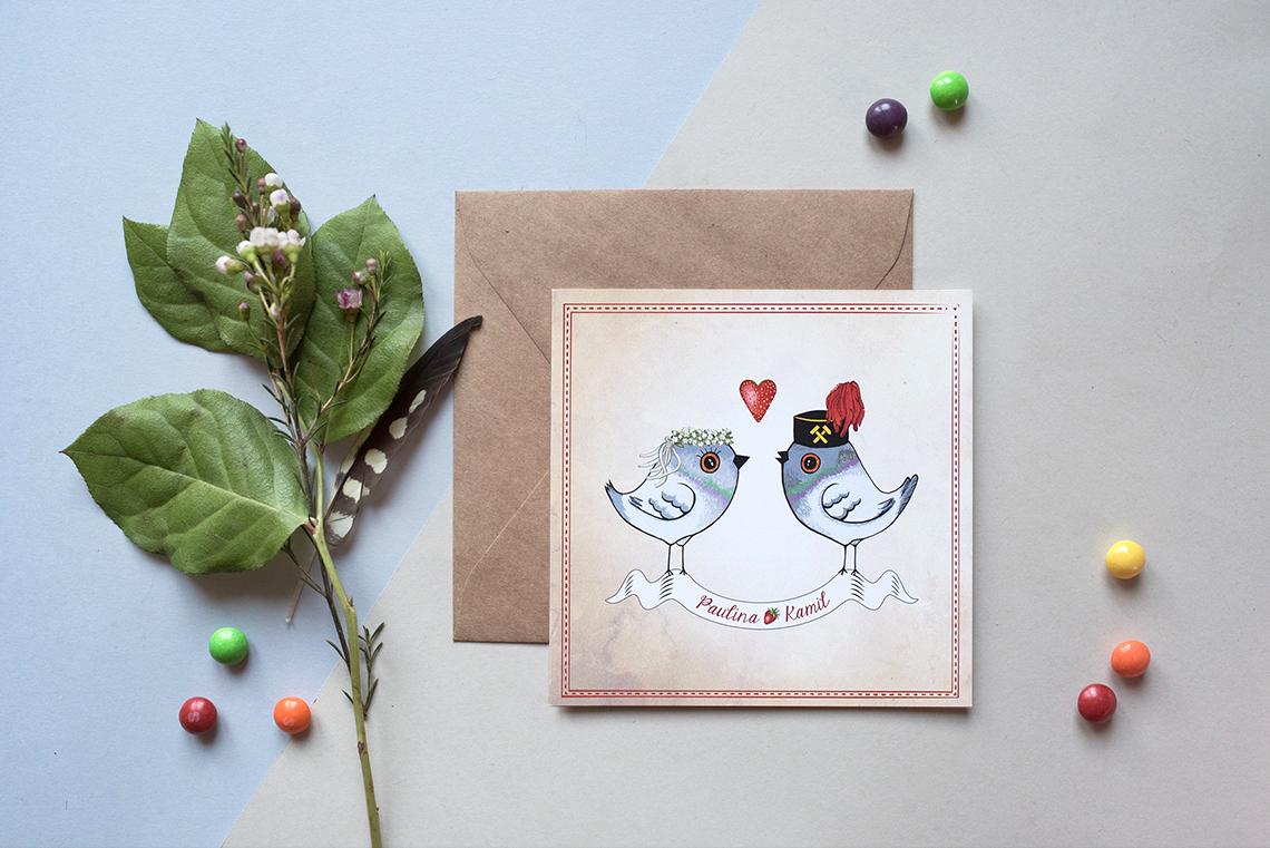 zaproszenia ślubne z motywem konwaliowo-truskawkowym