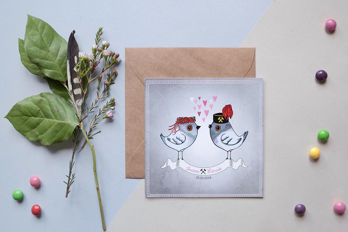 śląskie zaproszenia ślubne w szarości