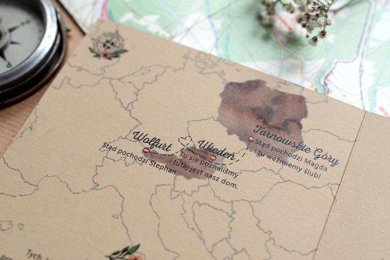 Mapy W Zaproszeniach ślubnych Kreatywne Przykłady Różnych Rozwiązań