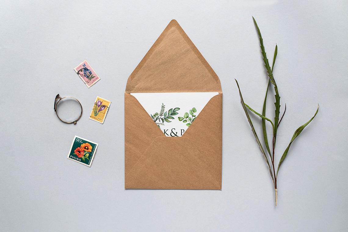 minimalistyczne zaproszenie z listkami
