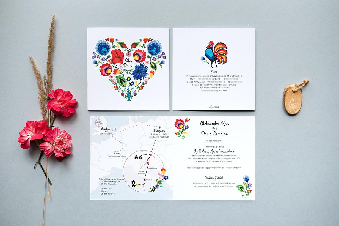 Zaproszenie ślubne - folk łowicki - mapa międzynarodowa