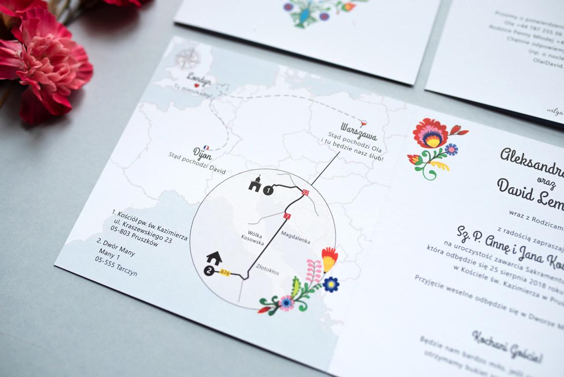 Zaproszenie ślubne - folk łowicki - mapa międzynarodowa na ślub polsko-francuski