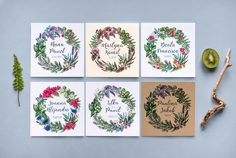 Poznajcie łatwy sposób na dopasowanie zaproszenia do Waszego motywu ślubnego. 6 różnych wersji jednego projektu, czyli historia zaproszenia z zielonym wiankiem.