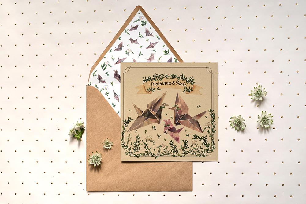 Zaproszenie żurawie origami dla Pary Młodej z dzieckiem