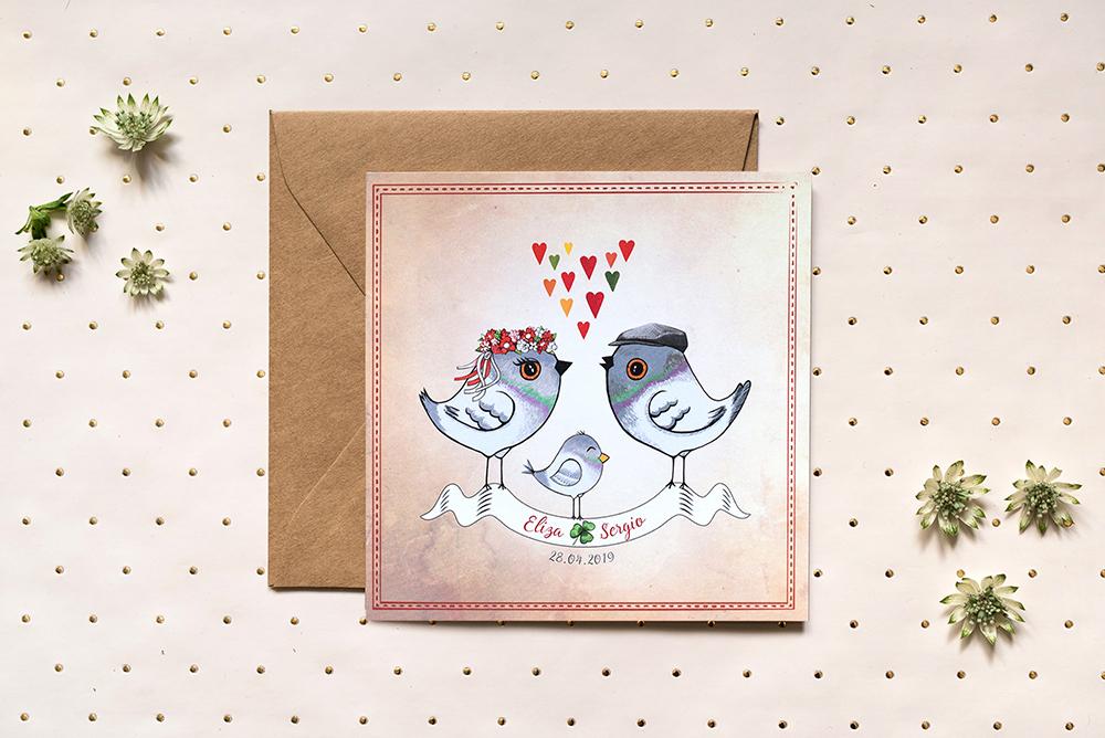 Zaproszenie z gołąbkami dla Pary Młodej z dzieckiem