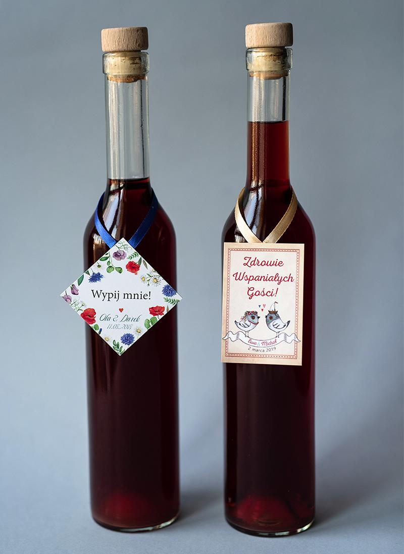 dodatki ślubne - naklejka na butelkę