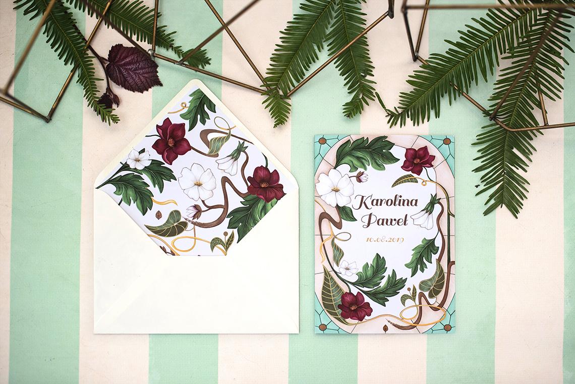 zaproszenie secesyjne z kwiatami i elegancka koperta