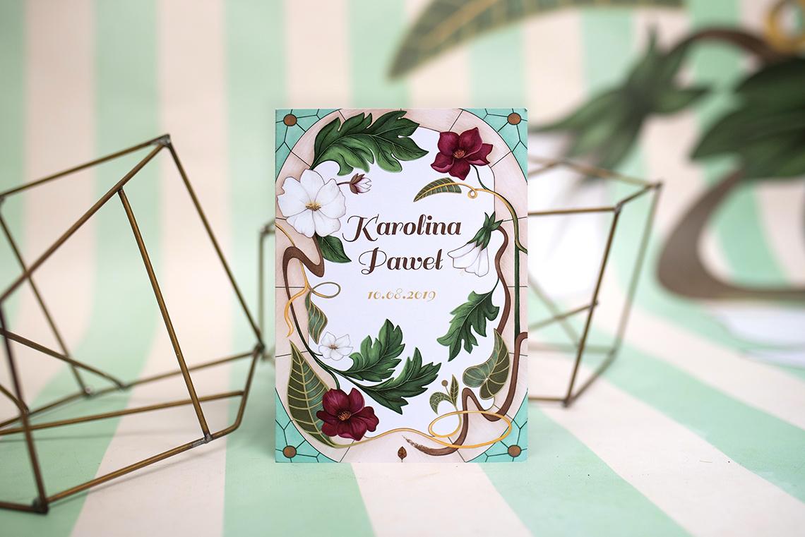 zaproszenie secesyjne z kwiatami w kolorach bordo i kremowym