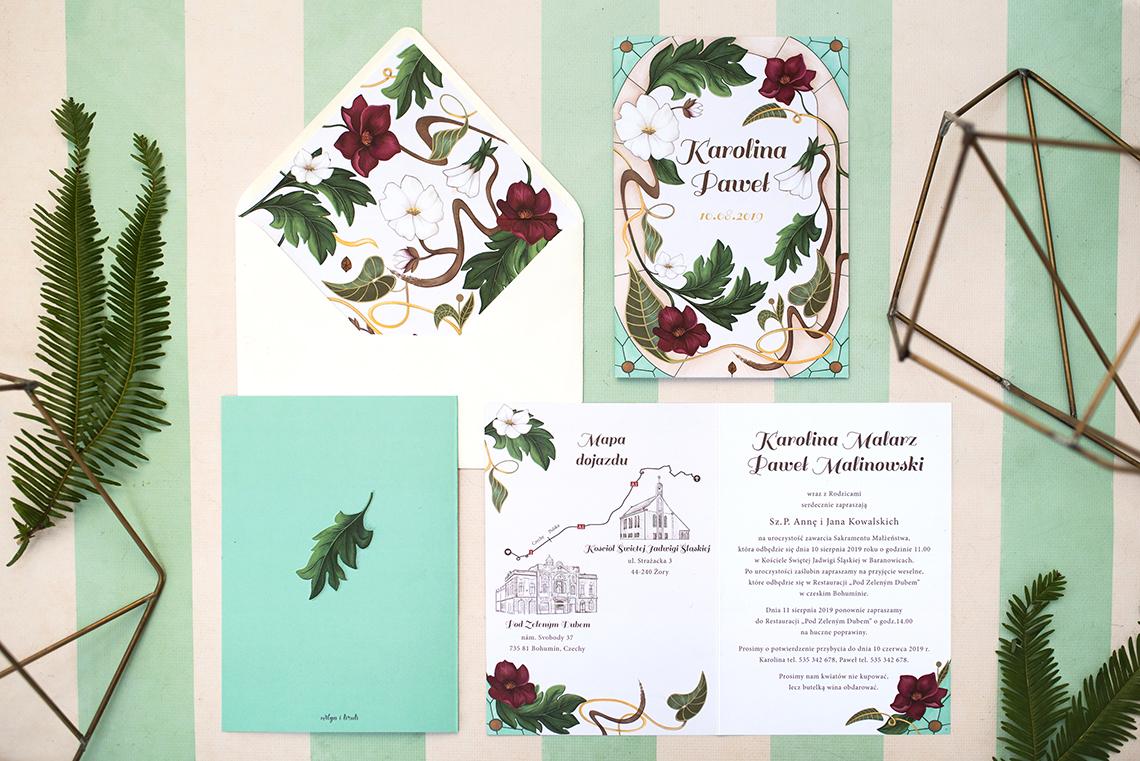 zestaw zaproszenia secesyjnego z kwiatami