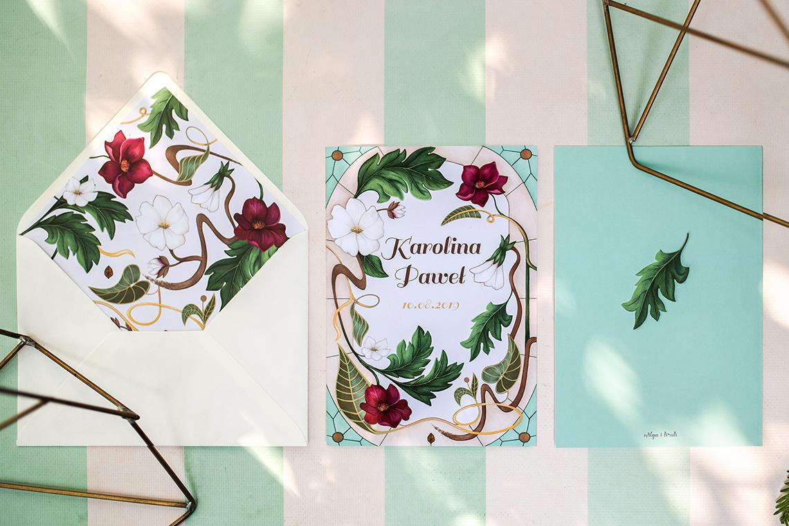 zaproszenie secesyjne w kolorach bordo, krem i zieleń