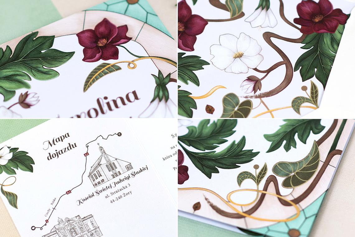 detale zaproszenia secesyjnego z kwiatami