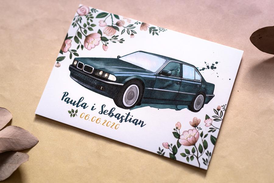 zaproszenie ślubne z zielonym BMW