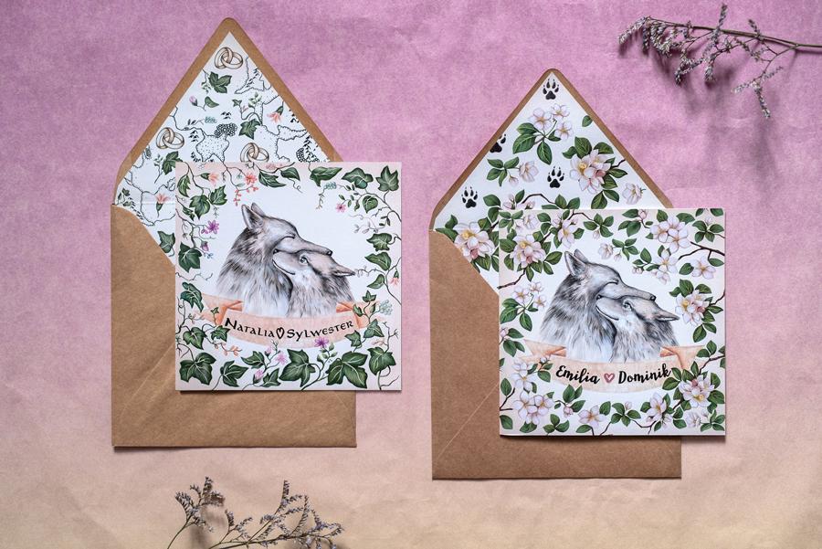 zaproszenie ślubne z wilkami i roślinami