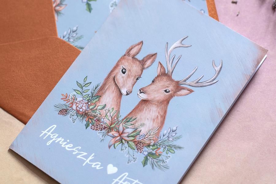 zaproszenie ślubne z jeleniami - detal