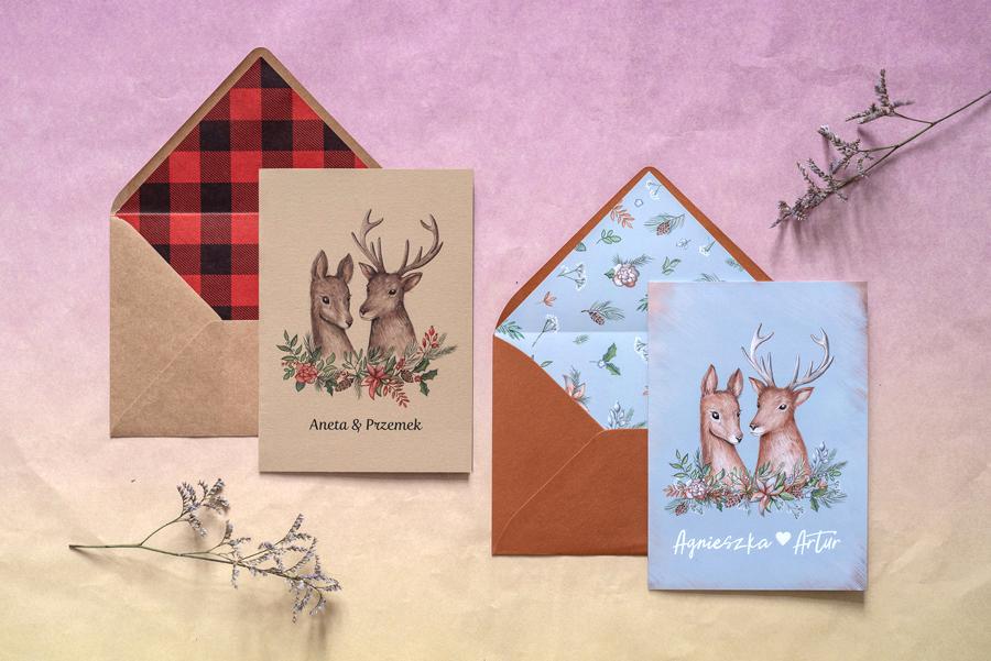 zimowe zaproszenie ślubne z jeleniami