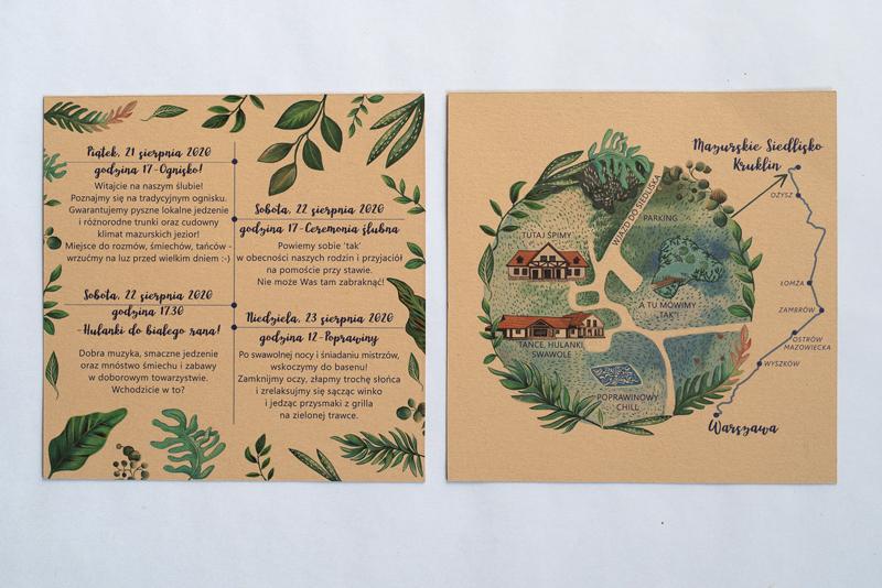 Dodatkowa karta z mapą i harmonogramem wesela